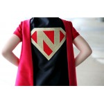 FAST Delivery Personalized SUPERHERO CAPE with Custom Gold Shield - Fast Delivery - Personalized Initial