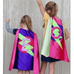 2 CAPE SET -Girls Sparkle Initial SUPERHERO Capes - Fast Shipping - Sister Gift - You choose 2 superhero capes