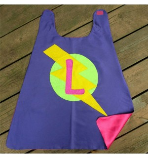 Girls SPARKLE INITIAL SUPERHERO Cape - Fast Shipping - Kids Costumes - Girl Superhero Party