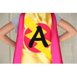 Girls Custom Initial Superhero Cape - SHIPS FAST - Personalized Cape with Initial - 14 color options