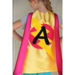 Girls Superhero Cape with custom LETTER - SHIPS FAST - Personalized Cape with Initial - Kids Costumes - Choose from 14 color options