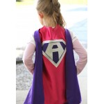 FAST delivery - Girls Sparkle Custom Shield Superhero Costume Cape - PERSONALIZED GIRL Cape - Custom Initial