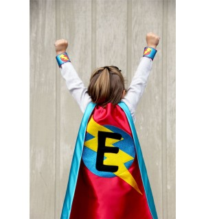 FAST Shipping - PERSONALIZED SUPERHERO cape with sparkle turquoise design + Custom Intial - Superkidcapes - Halloween Ready