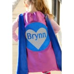 GIRLS Personalized SPARKLE HEART Superhero Cape - Full Name Hero Cape - Fast shipping - Girls Birthday - Valentines Day Ready