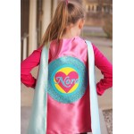 NEW - Valentines Day Ready - Pink and Mint Sparkle Girls Heart SUPERHERO CAPE with Full Name - Personalized Easter Gift - Ships Fast
