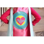 Pink and Mint Sparkle Girls Heart SUPERHERO CAPE with Full Name - Valentines Day Ready - Personalized Easter Gift - Ships Fast