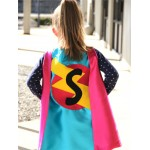 Holiday Sale - Kids SUPERHERO Cape Personalized double sided cape - Any Initial - Girl or Boy Birthday Gift - Costume