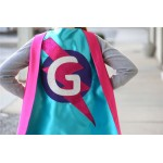 Holiday Sale - GIRLS Personalized Sparkle Superhero Cape with custom initial - High quality sparkle design - girl birthday gift