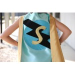 Mint and gold Personalized Sparkle Superhero Cape with custom initial - Ships fast - sparkle design - girl birthday gift