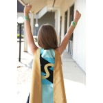 NEW Mint and gold Personalized Sparkle Superhero Cape with custom initial - Ships fast - High quality sparkle design - girl birthday gift