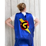 Ships Fast - ADULT SUPERHERO CAPE - Personalized Initial Lightning Bolt Hero Cape Costume - Halloween Costumes for Men and Women