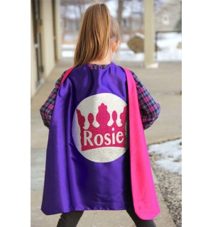 Girls PERSONALIZED Full NAME SPARKLE Crown Super Hero Cape - Halloween Ready - Girls Red and blue cape - Superhero Party