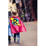 Fast Shipping - Kids Red and Turquoise Personalized Superhero Cape with custom INITIAL - Easy Halloween Costume - Personalized Birthday Gift