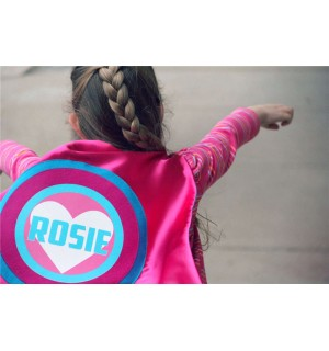 Personalized Easter Gift - Girls Custom Heart SUPERHERO CAPE with Full Name - Ships Fast - Easter Ready
