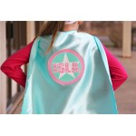 MINT Girls PERSONALIZED Superhero Cape - Easter Ready - Customized Name - Choose mint or bubblegum pink - Fast Shipping - Aqua and Pink