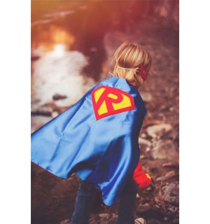 Boy Personalized Shield Cape - CUSTOMIZE WITH INITIAL - Kid Birthday Party Favor