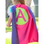 Superhero Cape - Sparkle Girls Cape - double sided with Personalized initial - Girl personalized gift