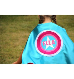 Girls FULL NAME Customized Girls Star Cape Superhero Costume - Turquoise and Pink Cape - Ships Fast - Halloween Ready